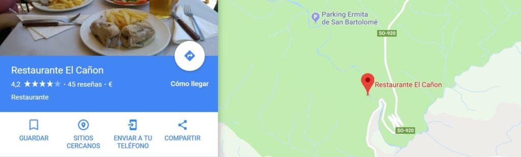 Cómo llegar al Restaurante El Cañón del Río Lobos